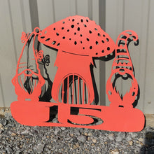 Load image into Gallery viewer, Gnome Mushroom Yard Stake Address or Custom Saying Funky Garden Art