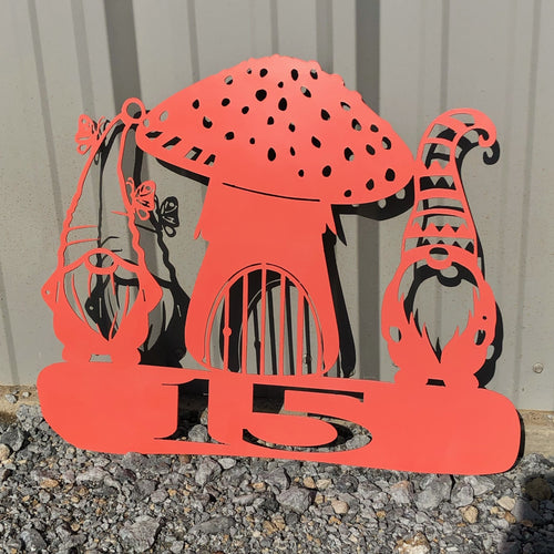 Gnome Mushroom Yard Stake Address or Custom Saying Funky Garden Art