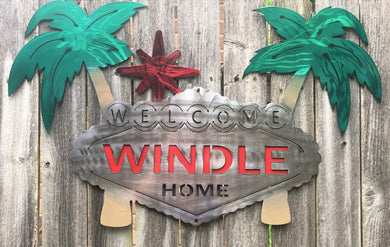 Custom Welcome Palm Tree Sign - Woodpost Metalworks