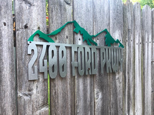 Mountain Address Sign - Woodpost Metalworks