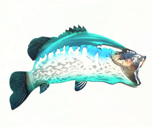 Painted Bass Fish - Woodpost Metalworks