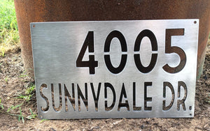 Brushed Aluminum Address Sign Number and Street - Woodpost Metalworks