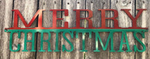 "Load image into Gallery viewer, Merry Christmas 21"" Wide Red and Green - Woodpost Metalworks"