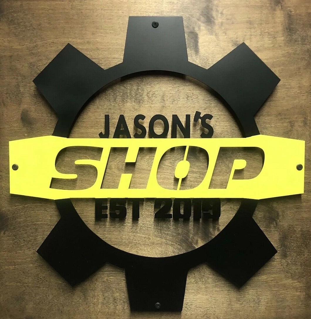 Custom Shop Gear Sign - Woodpost Metalworks