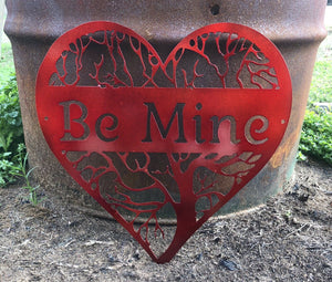 """Be Mine"" Heart Tree - Woodpost Metalworks"