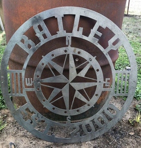 Custom Compass Last Name Established - Woodpost Metalworks
