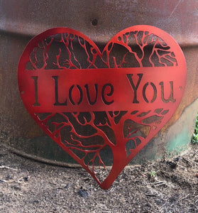 """I Love You"" Heart Tree - Woodpost Metalworks"