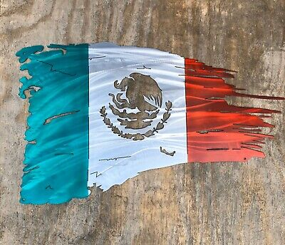 Tattered Mexican Flag - Woodpost Metalworks