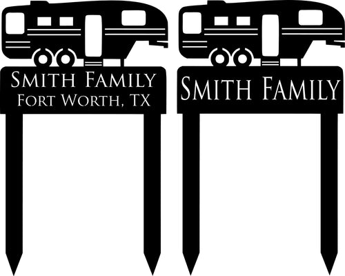 Fifth Wheel Camper Yard Stake Custom Family Sign