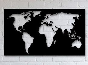 World Map Negative Space - Woodpost Metalworks