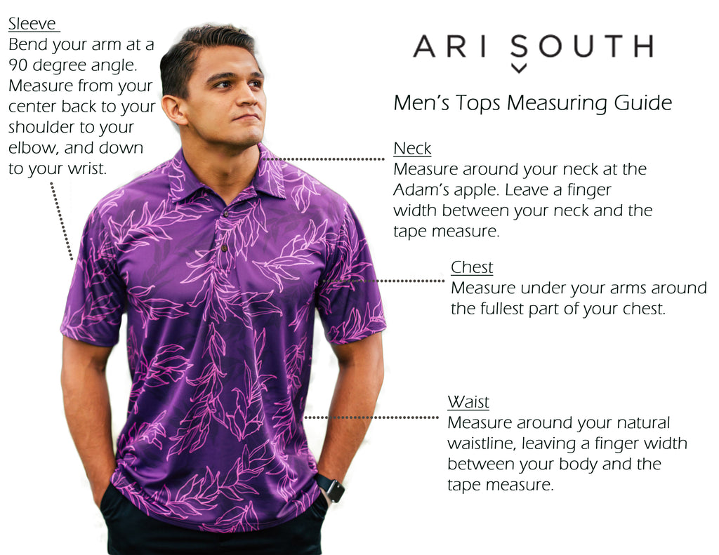 Ari South Men's Tops Measuring Guide