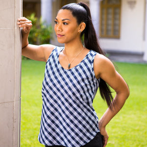 Women's Tank: Bias Tank, Palaka, Navy/White