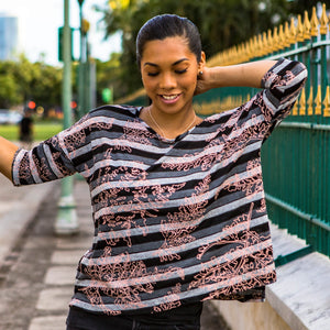 Women's Top: Hoʻonanea Top, Palaʻā on Stripes, Black/Grey/White/Salmon