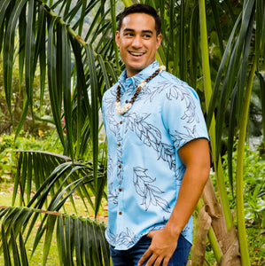Limited Merrie Monarch Collection: Men's Button Down: Kaʻōpua Shirt, Leimaile, Niagara/Charcoal