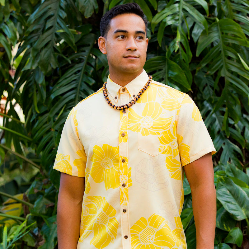 Limited Merrie Monarch Collection: Men's Button Down: Kaʻōpua Shirt, Puakenikeni, Yellow