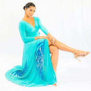 Women's Dress: Maxi Wrap Dress, Lau Niu, Aquamarine