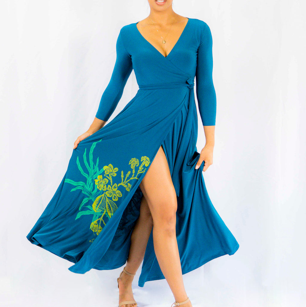 Women's Dress: Maxi Wrap Dress, Lauaʻe and Puakenikeni, Teal