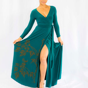 Women's Dress: Maxi Wrap Dress, Kukui, Forrest Green