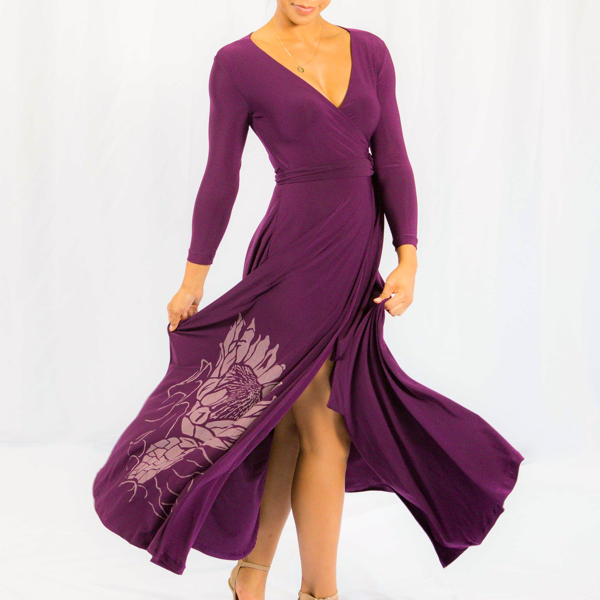 Women's Dress: Maxi Wrap Dress, Protea, Purple