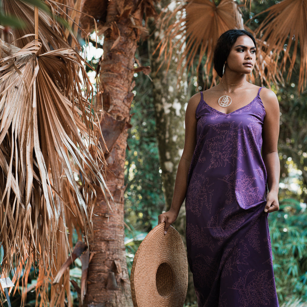 ʻOhe Maxi | Purple Satin Palaʻā