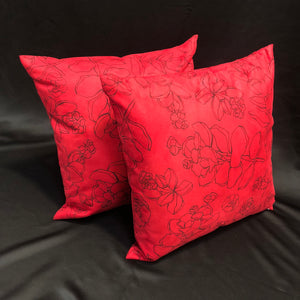 Faux Suede Pillows, Likolani, Red/Black