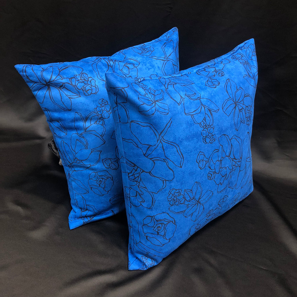 Faux Suede Pillows, Likolani, Blue/Black
