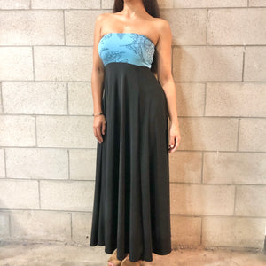 Women's Dress: Strapless Maxi, ITY, Palaʻā, Baby Blue/Black