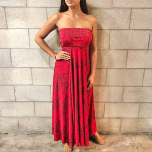 Women's Dress: Strapless Maxi, ITY, Palaʻā, Red/Black