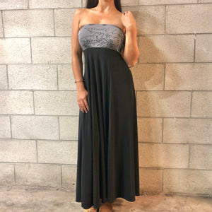 Women's Dress: Strapless Maxi, ITY, Palaʻā, Grey/Black