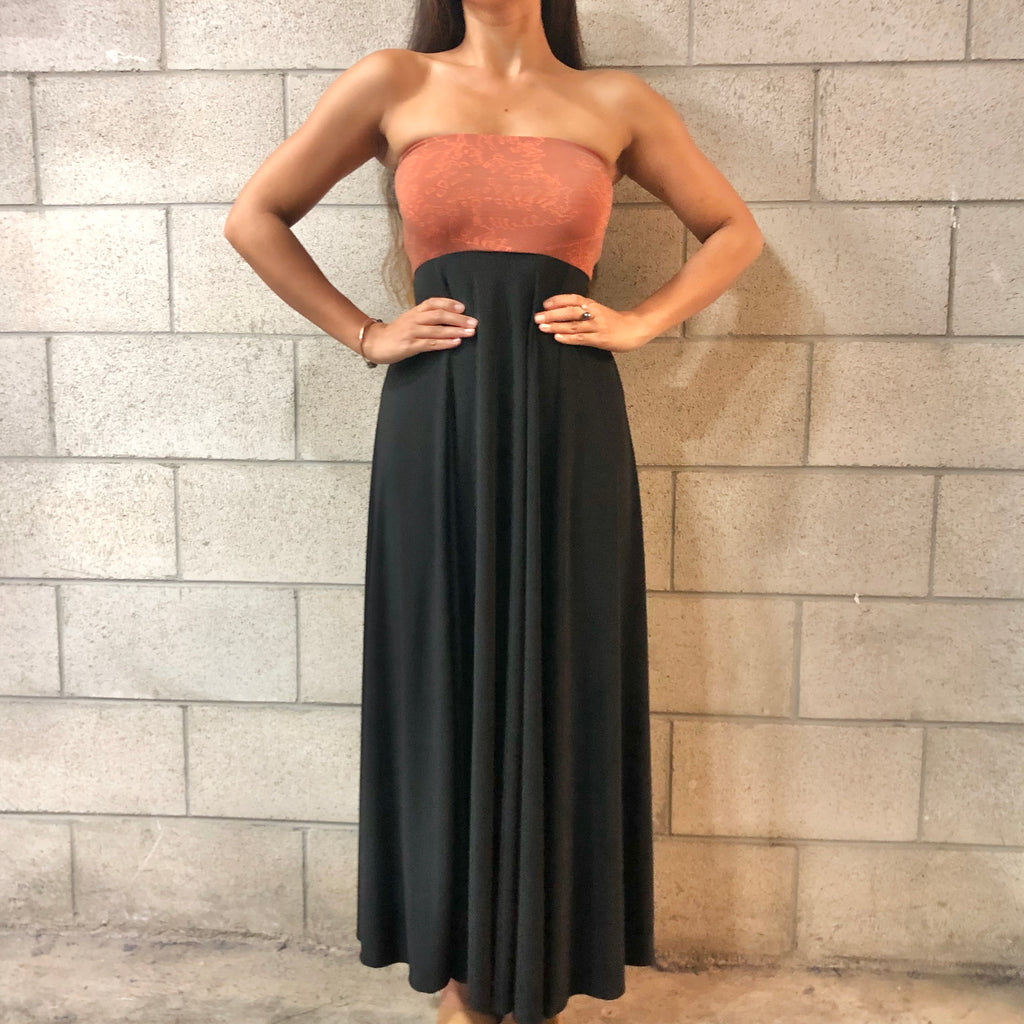 Women's Dress: Strapless Maxi, ITY, Palaʻā, Orange/Black