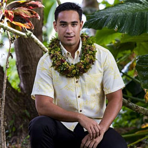 Men's Shirt: Kaʻōpua Shirt, Palaʻā, Yellow/Canary