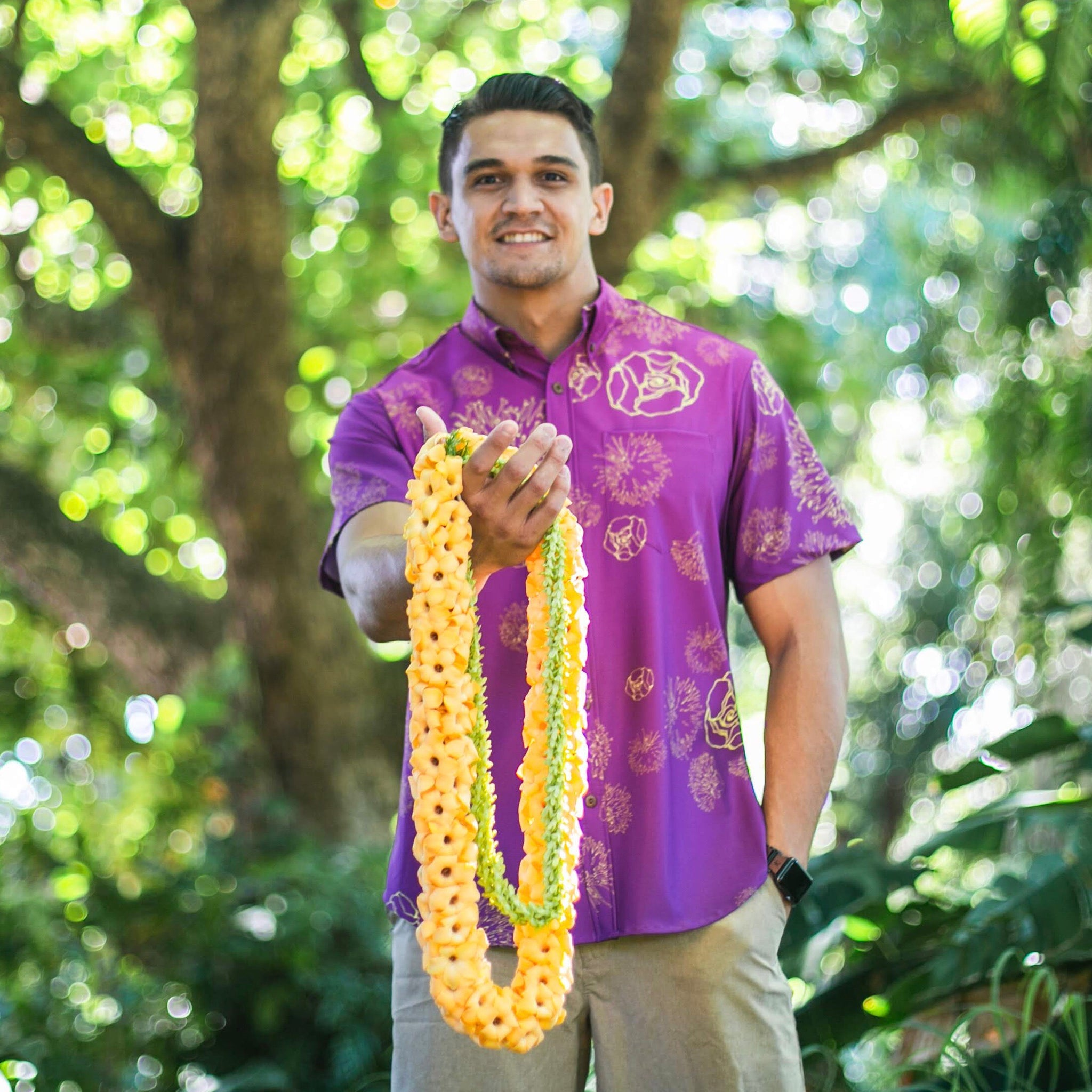 Men's Shirt: Kaʻōpua Shirt, Stretch Microfiber, Lehua Blossoms, Purple/Yellow