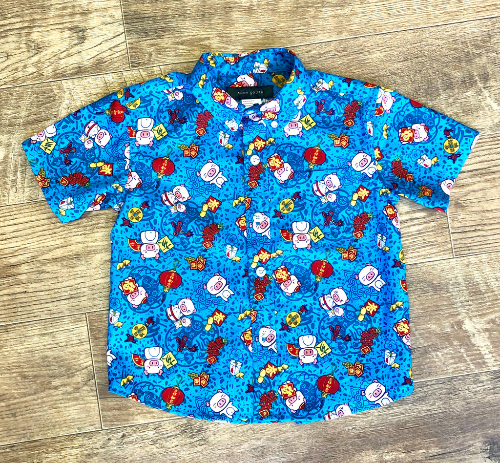 Boys Shirt: Kaʻōpua Shirt, Cotton, Year Of The Pig, Blue