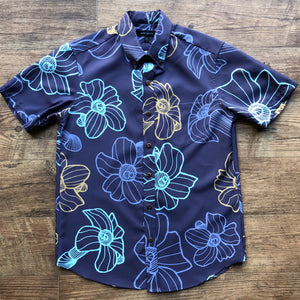 Men's Shirt: Kaʻōpua Shirt, Polyester Zanzibar, Puakenikeni, Deep Purple/Blue/Gold