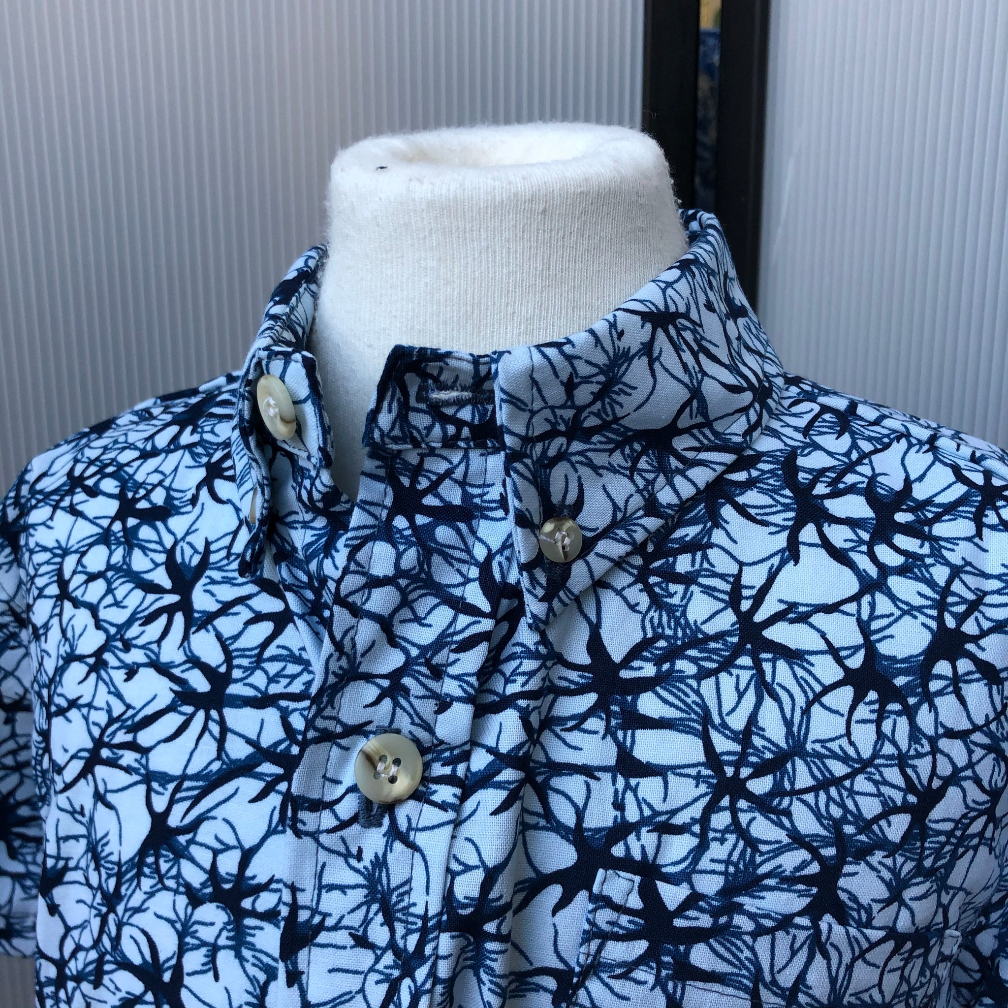 Boy's Shirt: Japanese Cotton, Blue Seaweed