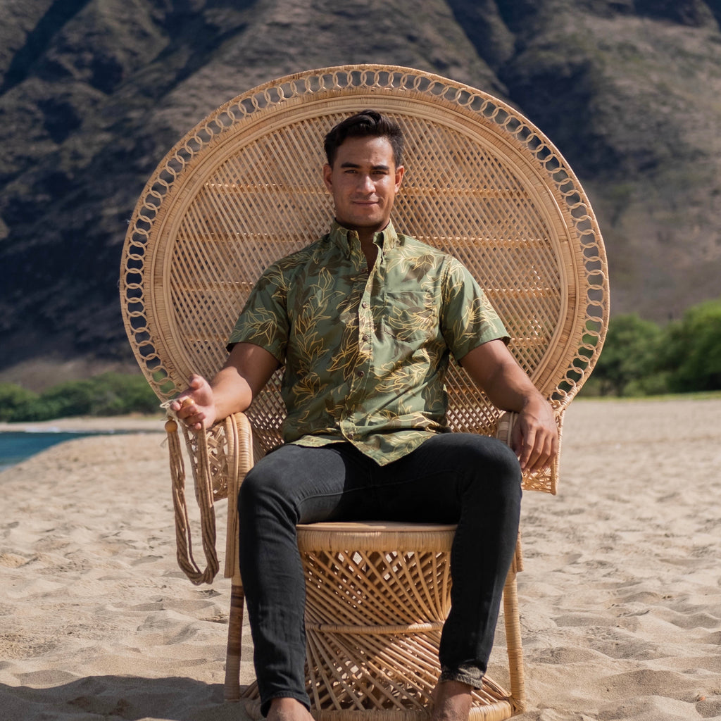 Kaʻōpua Shirt | Forest Gold Dipped Maile