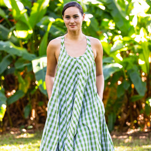 Women's Dress: Trapeze Midi Dress, Palaka, Green/White