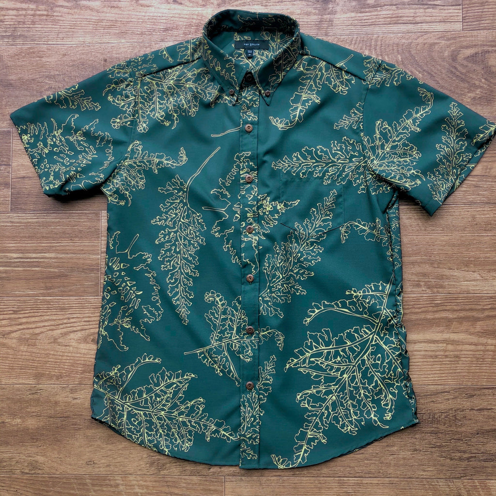Men's Shirt: Kaʻōpua Shirt, Polyester Zanzibar, Palaʻā, Green/Yellow