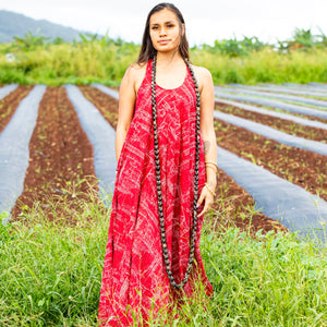 Women's Dress: Trapeze Maxi Dress, Ka Waʻa, Red/White