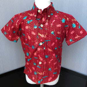 Boy's Shirt: Japanese Cotton, Omocha, Wine