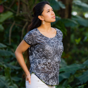 Limited Merrie Monarch Collection: Women's Top: Knit Top, Likolani, Crackle Back, Grey