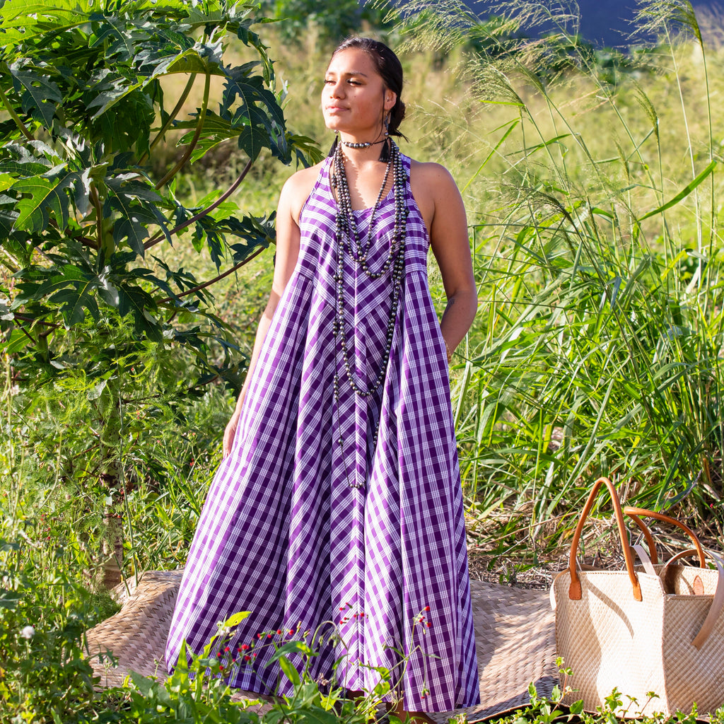 Women's Dress: Trapeze Maxi Dress, Palaka, Purple/White