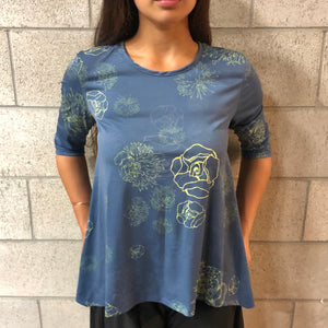 Women's Top: Nila Top, ITY, Lehua Blossoms, Navy/Yellow