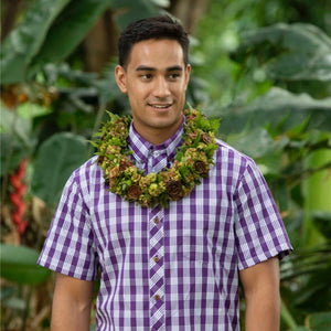 Men's Shirt: Nalu Shirt, Palaka, Purple/White