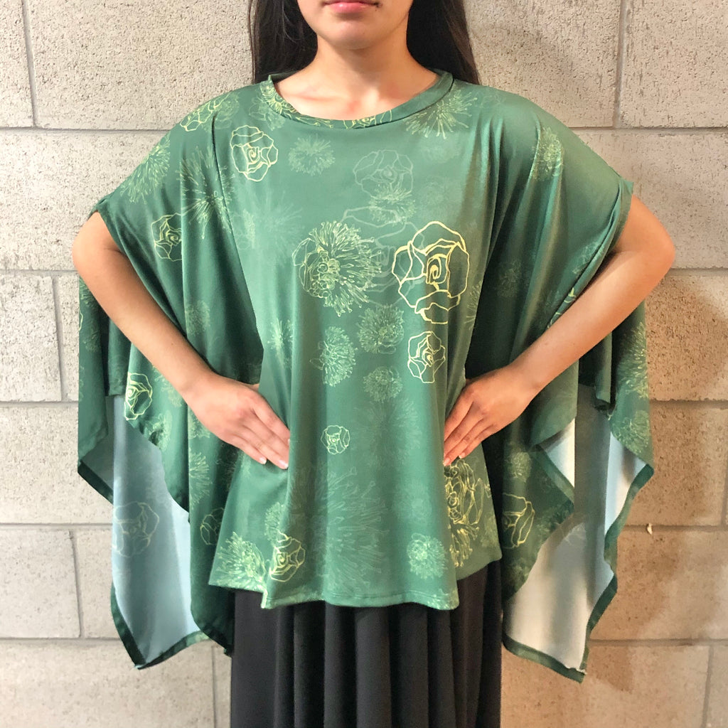 Women's Top: Welo Top, ITY, Lehua Blossoms, Green/Yellow