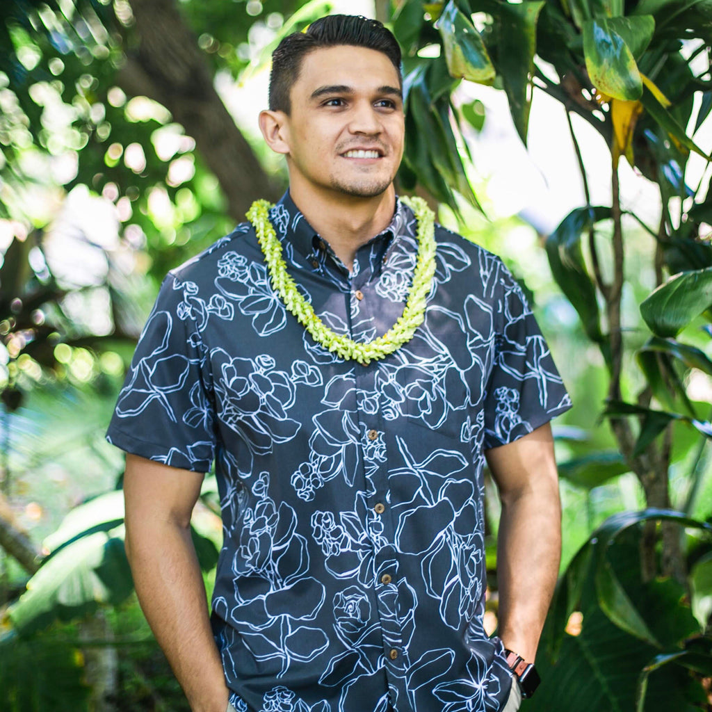 Men's Shirt: Kaʻōpua Shirt, Stretch Microfiber, Likolani, Black/White