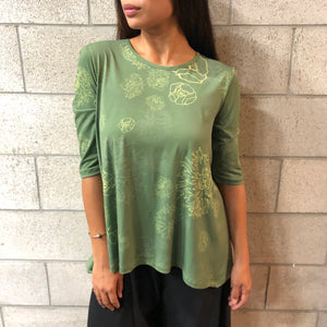 Women's Top: Nila Top, ITY, Lehua Blossoms, Green/Yellow