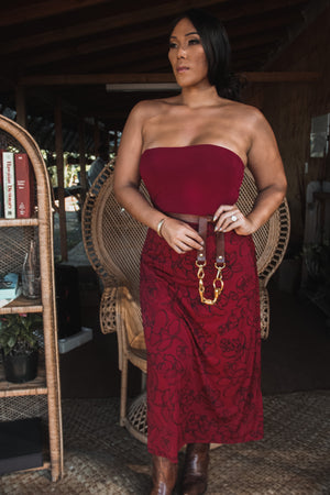 ʻApelila Skirt | Red Likolani