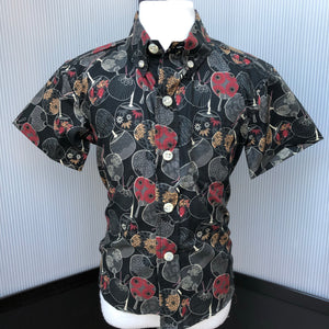 Boy's Shirt: Japanese Cotton, Fans, Black