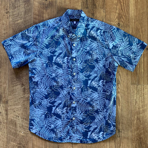 Men's Shirt: Kaʻōpua Shirt, Cotton, Fern, Navy/Blue